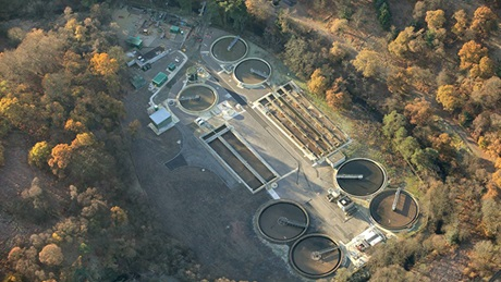 Aerial view of Dunnswood waste water treatment plan